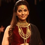 Juhi Chawla in Maroon Lehenga Blouse at India International Jewellery Week 2015