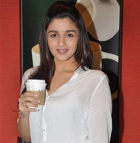 Alia Bhatt in Transparent White Shirt at Starbucks Coffee Shop