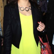 Madhuri Dixit in Goggles Hot Stylist Look in Yellow Top and Black Jacket at Airport