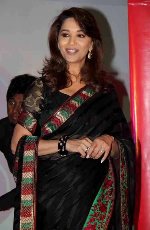 Madhuri Dixit in Black Saree – New Stills Nice Images