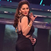 Madhuri Dixit in Hot Black Transparent Saree Navel Show at Yash Chopra 81th Bday Anniversary