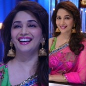 Madhuri Dixit in Pink Saree – Navel Show in Transparent Blue Velvet Blouse