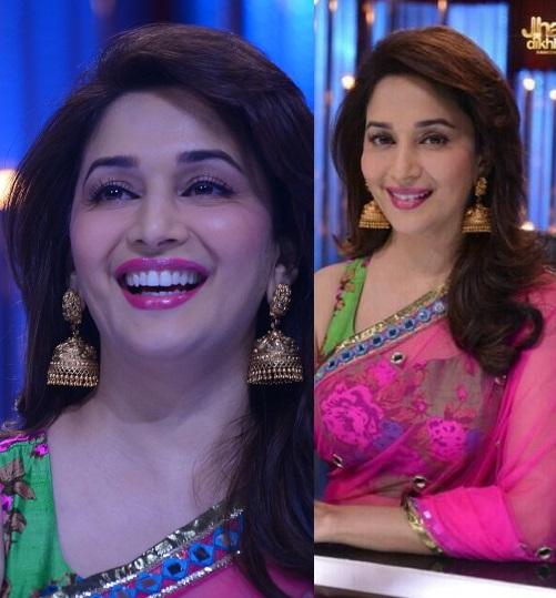Madhuri Dixit in Pink Saree – Navel Show in Transparent Blue Velvet Blouse