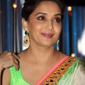 Madhuri Dixit in Sleeveless Blouse Designer Saree Hot Pics Bold Look Images