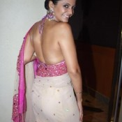 Mandira Bedi Hot Back in Backless Saree Sleeveless Blouse Pics