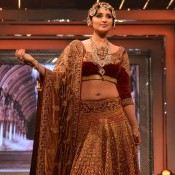 Parineeti Chopra Hot Navel Show Pics in Marun Lehanga Choli at Yash Chopras 81st Birthday Anniversary