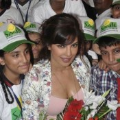 Priyanka Chopra Hot Deep Cleavage Show in Pink Top in Krrish 3 Promotion at Smile NGO