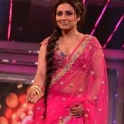 Rani Mukherji Navel Show Hot Cleavage Photos in Pink Transparent Saree at at Yash Chopra 81th Bday Anniversary