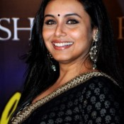 Rani Mukherjee in Black Transparent Saree and Polka Dots Designer Blouse at Yash Chopra Memorial Award