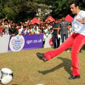 Salman Khan in Skin Tight White T shirt and Red Pant Plays Football for Charity Event in Mumbai