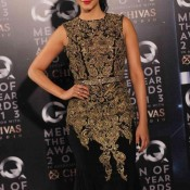 Shruti Hassan in Sleeveless Black and Golden Tight Pencil Gown Dress