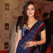 Sonali Bendre Hot Navel in Transparent Blue Saree – Hot Photos in Velvet Designer Blouse