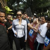 Sonam Kapoor in Skin Tight T Shirt and Jogging Trouser Hot Look at Max Bupa Event in Mumbai
