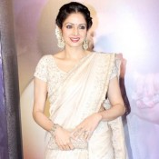 Sridevi in White Silver Saree at Yash Chopra Memorial Award 2013