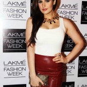 Zarine Khan In Red Mini Skirt At Lakme Fashion Week