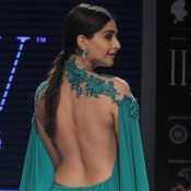 Sonam Kapoor Hot Backless Photos in Green Gown at India International Jewellery Week 2015