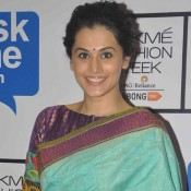 Taapsee Pannu in Blue Saree Patchwork Blouse Photos at Lakme Fashion Week Winter Festive 2015