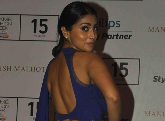 Shriya Saran Hot Backless in Blue Gown Dress at Lakme Fashion Week Winter Festive 2015
