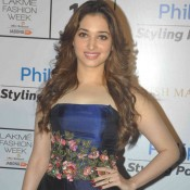 Tamannaah Bhatia New Look in Manish Malhotra Strapless Gown at Lakme Fashion Week Winter Festive 2015