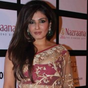 Raveena Tandon Hot Navel in Net Saree at Retail Jeweller India Awards 2015