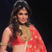 Chitrangada Singh Hot Navel in Red Lehenga Choli at India International Jewellery Week 2015