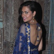 Esha Gupta in Floral Printed Blue Saree at Shyamal and Bhumika Wedding Collection Preview