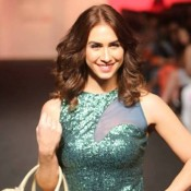 Lauren Gottlieb in Green Sleeveless Gown at Lakme Fashion Week 2015
