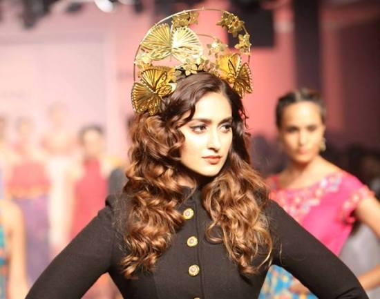 Ileana D'Cruz in Black Floral Lehenga Gown Lakme Fashion Week Winter Festive 2015