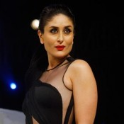 Kareena Kapoor in Black Cut Out Transparent Gown at Lakme Fashion Week Winter Festive 2015