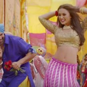 Amy Jackson Hot Navel in Singh Is Bling Movie 2015 – Traditional look in Pink Lehenga