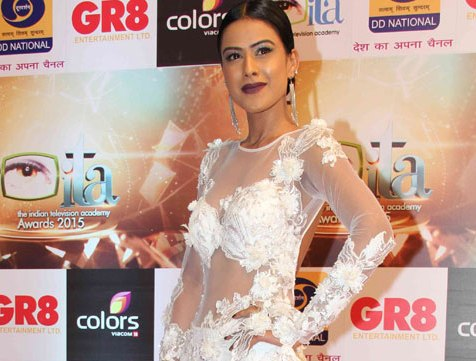 Nia Sharma in White Transparent Gown at Indian Television Academy Awards 2015