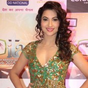 Gauhar Khan in Indian Television Academy Awards 2015 Photos – Hot New Look in Green Sheer Gown