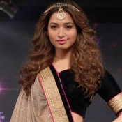 Tamannaah Bhatia at Joh Rivaaj Fashion Show 2015 – New Look in Black Cream Lehenga Choli