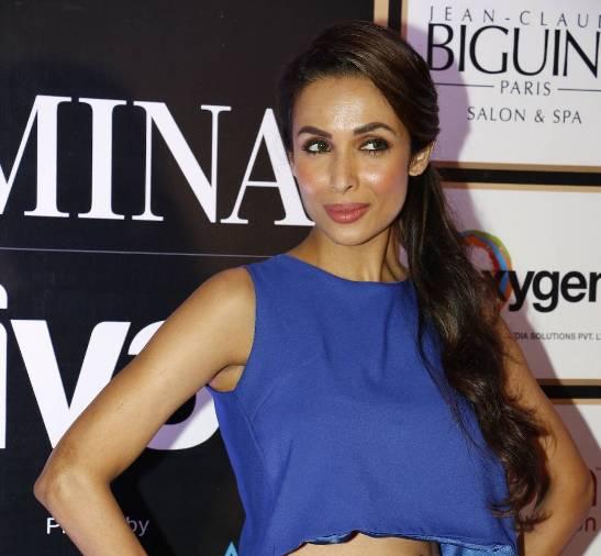 Malaika Arora Khan in Blue Crop Top with Green Maxi Skirt Photos 2015
