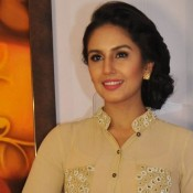 Huma Qureshi at Divinity Exhibition in Delhi – New Pics in Nude Color Gown