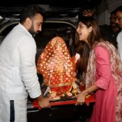 Shilpa Shetty and Raj Kundra brings Ganpati Bappa at Home